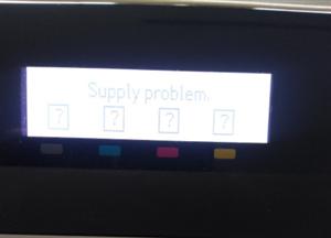 Máy in màu hp xuất hiện thông báo Supply problem